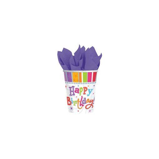 Papírpohár 2,5dl, 6db, Radiant, Happy Birthday, 24862