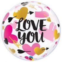 """Bubbles lufi 22"""" 56cm Héliummal töltve """"I love you"""", 78457"""