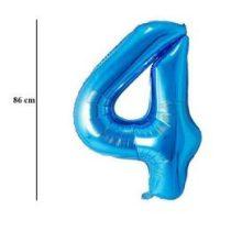 """Számos lufi 34"""" 86cm óriás kék fólia szám 4, Héliummal töltve, 30527"""