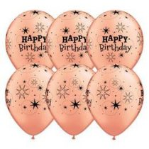 "Szülinapi latex lufi 11"" 28cm 6db Hayy Birthday!, Rosegold, Rose gold, q91154rp"