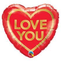 """Fólia lufi 18"""" 45cm """"Love You """" szív, 97168, héliummal töltve"""