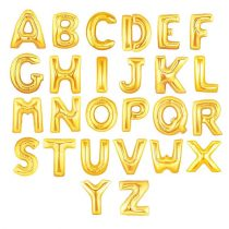 """Betű lufi 16"""" 40cm arany fólia betű, M betű, levegővel tölthető"""