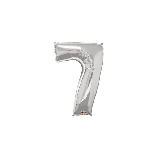 """Számos lufi 34"""" 86cm óriás ezüst fólia szám, számjegy 7-es Héliummal töltve, 30425"""