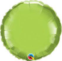 """Egyszínű kerek fólia lufi 18"""" 45cm Lime, 73310, héliummal töltve"""
