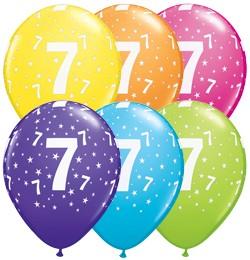 """Latex szám, számos lufi 11"""" 28cm 6db 7-es szám lufi, 17845"""