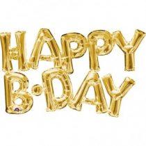 Happy B-day felirat, fólia betűk, csak levegővel tölthető, arany, 76x48cm, 07-3375901