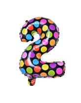 """Számos lufi 16"""" (40cm) fólia szám, számjegy 2-es, levegővel tölthető, fekete alapon-színes pöttyös"""