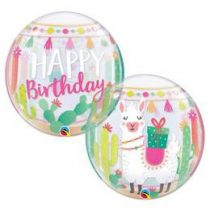 """Szülinapi Bubbles lufi 22"""" 56cm Héliummal töltve Happy Birthday, Láma, 87742"""