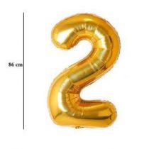 """Számos lufi 34"""" 86cm óriás arany fólia szám, számjegy 2-es Héliummal töltve, 2824601"""