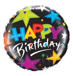 """Szülinapi fólia lufi 18"""" 45cm Happy Birthday, 23785, héliummal töltve"""