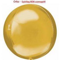 """Egyszínű fólia gömb lufi 16"""" 40cm arany Orbz, 2820599, héliummal töltve"""