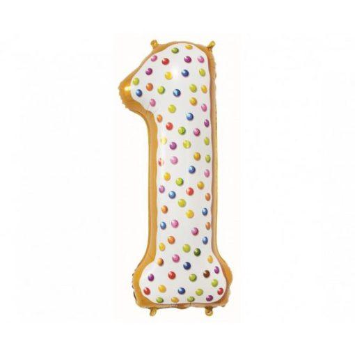 """Számos lufi 34"""" 86cm óriás arany fólia szám, számjegy 1-es Héliummal töltve, 2824401"""
