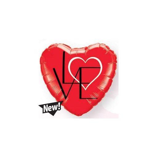 "Fólia lufi 18"" 45cm LOVE szív, 46079, héliummal töltve"