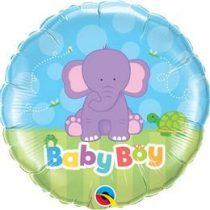 """Fólia lufi babaszületésre 18"""" 45cm - Baby boy, 13916, héliummal töltve"""