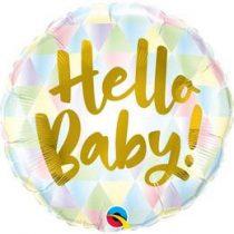 """Fólia lufi babaszületésre 18"""" 45cm - Hello Baby, 88007, héliummal töltve"""