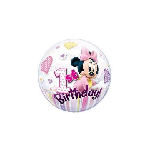 """Mintás Bubbles számos, szám lufi 22"""" 56cm Minnie Mouse 1 Birthday Héliummal töltve, 12862"""