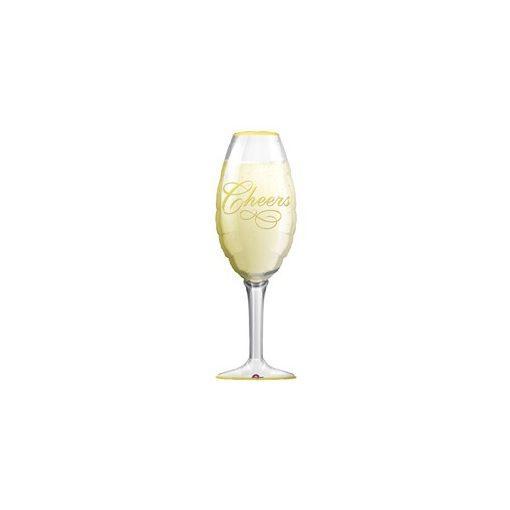 """Óriás fólia lufi 36"""" 91cm pezsgős pohár, 0619501, héliummal töltve"""