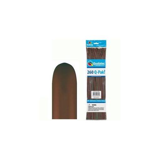 QUALATEX 260Q modellező lufi 50db/csomag csokoládébarna
