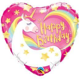 """Szülinapi fólia lufi 18"""" 45cm Happy Birthday, Unikornis, Unicornis, Egyszarvú, 57319, héliummal töltve"""