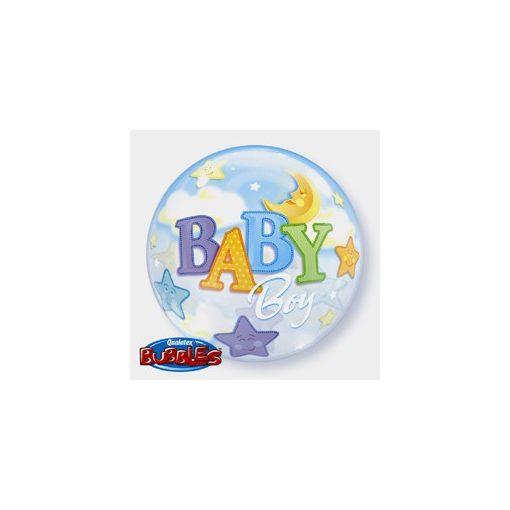 """Mintás Bubbles lufi 22"""" 56cm Baby boy Héliummal töltve, 69728"""