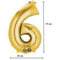 """Számos lufi 16"""" (40cm) fólia szám, számjegy 6 levegővel tölthető, arany, 3308701"""
