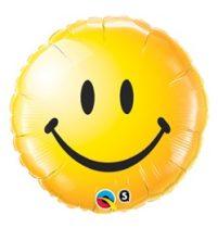 """Mosolygó fólia lufi 18"""" 45cm, smiley face, sárga, 29632, héliummal töltve"""