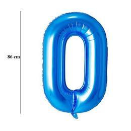 """Számos lufi 34"""" 86cm óriás kék fólia szám 0, Héliummal töltve, 30511"""