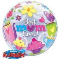 """Anyák napi Bubbles lufi 22"""" 56cm Best Mom Ever, 11539, Héliummal töltve"""
