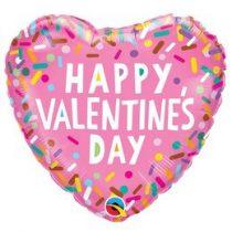 """Fólia lufi 18"""" 45cm """"Happy Valentines Day """" szív, 97155, héliummal töltve"""