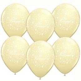 """Esküvői latex lufi 11"""" 28cm  6db ivory, elefántcsont, ekrü, Sok boldogságot!, q606359-8rp"""