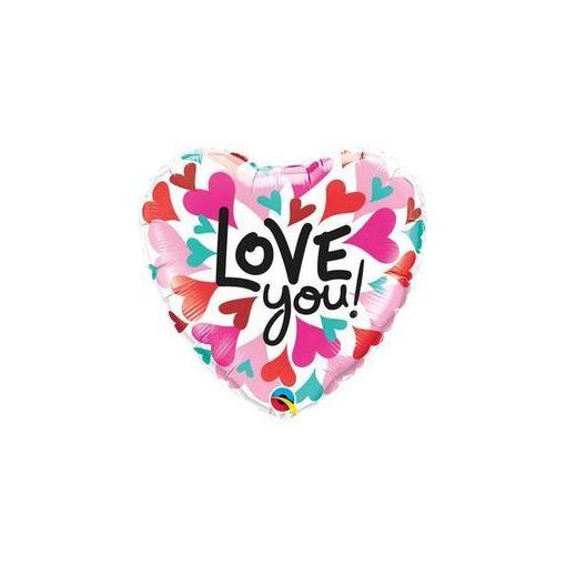 """Fólia lufi 18"""" 45cm """"Love you"""" szív, 46070, héliummal töltve"""