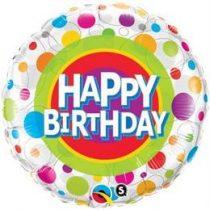 """Szülinapi fólia lufi 18"""" 45cm Happy Birthday, 41136, héliummal töltve"""