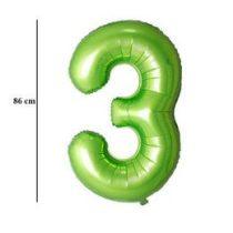 """Számos lufi 34"""" 86cm óriás zöld fólia szám, számjegy 3-as, Héliummal töltve"""