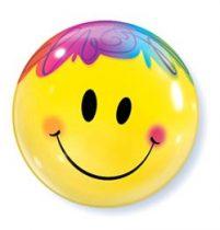 """Mintás Bubbles lufi 22"""" 56cm Smiley Héliummal töltve, 35173"""