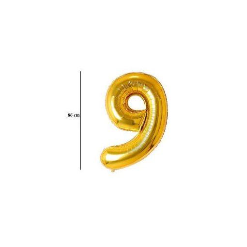 """Számos lufi 34"""" 86cm óriás arany fólia szám, számjegy 9-es Héliummal töltve, 2826001"""