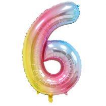 """Számos lufi 34"""" 86cm óriás Rainbow, színes, fólia szám, számjegy 6-os, Héliummal töltve"""