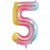 """Számos lufi 34"""" 86cm óriás Rainbow, színes, fólia szám, számjegy 5-ös, Héliummal töltve"""