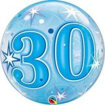 """Számos Bubbles lufi 22"""" 56cm 30-as számmal Héliummal töltve, 48443"""