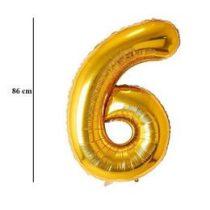 """Számos lufi 34"""" 86cm óriás arany fólia szám, számjegy 6-os Héliummal töltve, 2825401"""