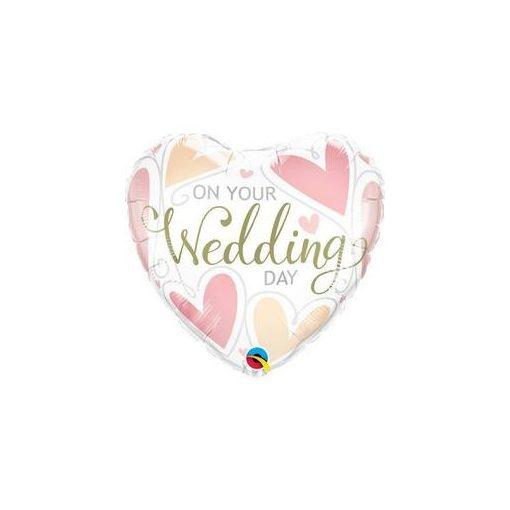 """Esküvői fólia lufi 18"""" 45cm On Your Wedding Day, szív, 57325, héliummal töltve"""