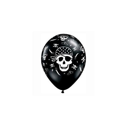 "Mintás latex lufi 11"" 28cm 6db koponya, skull, kalóz, pirate, halálfej, 17939"