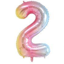 """Számos lufi 34"""" 86cm óriás Rainbow, színes, fólia szám, számjegy 2-es, Héliummal töltve"""