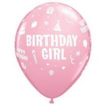 """Szülinapi latex lufi 11"""" 28cm 6db Birthday Girl, 17921"""
