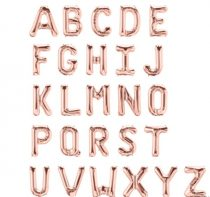 "Betű lufi 16"" 40cm rosegold fólia betű, F betű, levegővel tölthető"