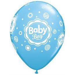 "Mintás latex lufi 11"" 28cm 6db Baby boy, 17803"