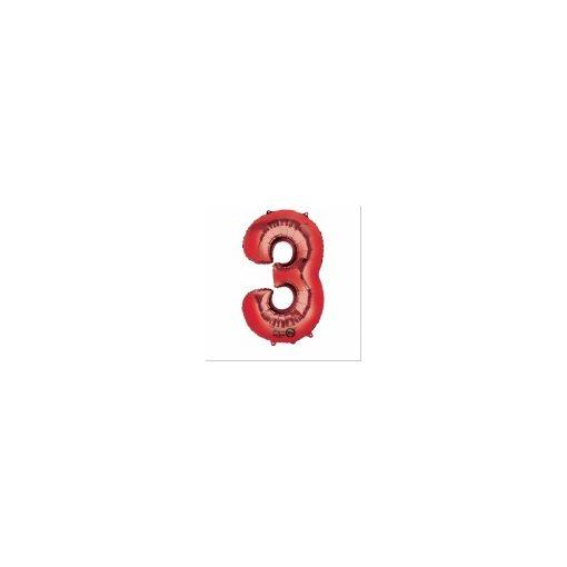"""Számos lufi 34"""" 86cm óriás piros fólia szám, számjegy 3-as Héliummal töltve"""