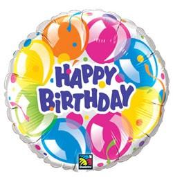 """Szülinapi fólia lufi 18"""" 45cm Happy Birthday, 78155, héliummal töltve"""
