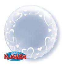 """Deco Bubble lufi 24"""" 61cm krisztálytiszta, átlátszó, szív mintával, Héliummal töltve, 29505"""