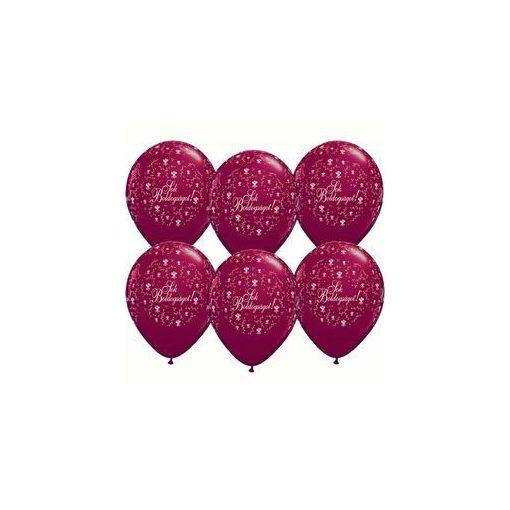 "QUALATEX 11"" (28cm-es) -  25db/csomag - Sok boldogságot!, pearl burgundy, gyöngyház vörös, esküvői lufi, q60635"