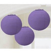 Lampion gömb 24cm 3db, lila színben